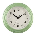 Large Vintage Quartz Kitchen Wall Clock Mint Green
