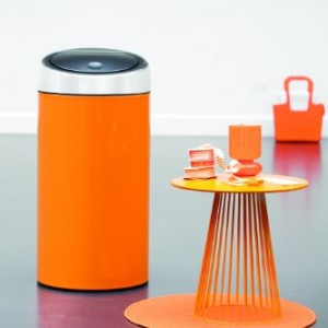 Brabantia Touch Bin Deluxe, 45 Litre - Chrome Orange