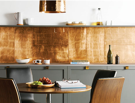 Copper Leaf Glass Tile Kitchen Splashback