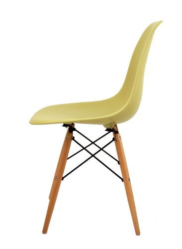 bentley home retro eames style eiffel dsw chair olive green