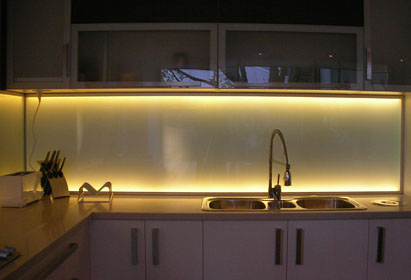 LED Backlit Glass Kitchen Splashback