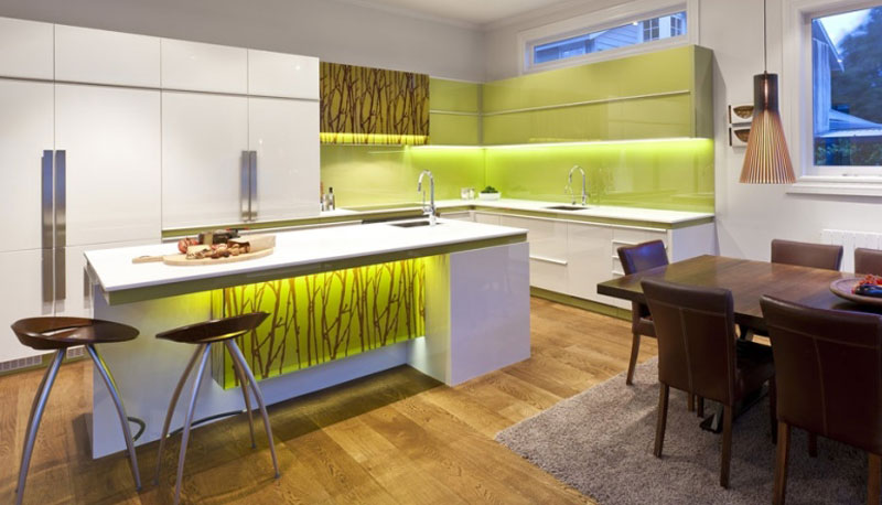 LED Green Glass Kitchen Splashback