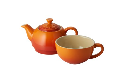 Le Creuset Stoneware Tea For One Set Volcanic Orange