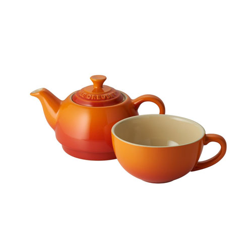 Le Creuset Stoneware Tea for One Set - Volcanic Orange