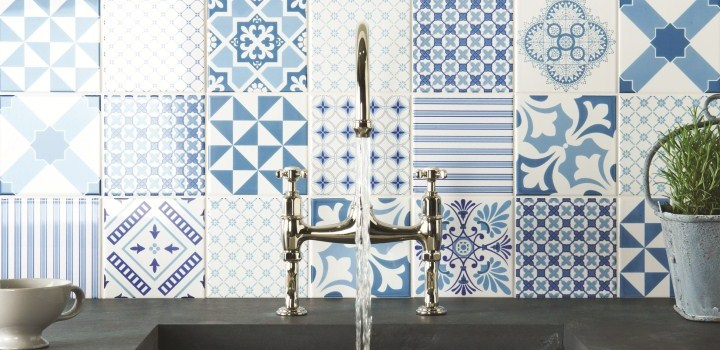 Patchwork Patterned Tiles Kitchen Splashback