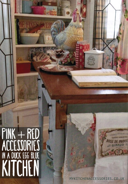 Red and Pink Kitchen Accessories in a Duck Egg Blue Kitchen