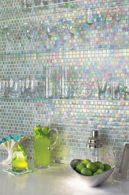 Oil Coloured Mosaic Tiles Kitchen Splashback