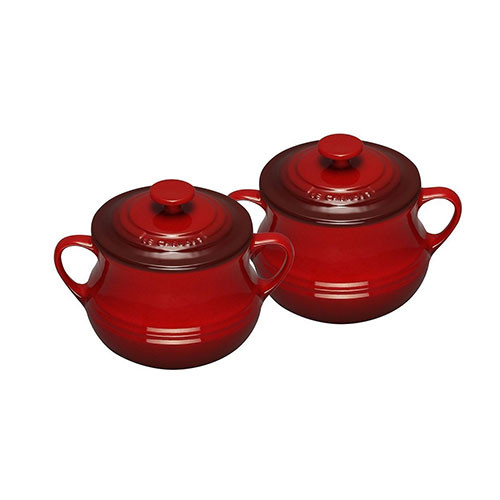 Le Creuset Stoneware Set of 2 Soup Bowls 0.5 L Cerise Red