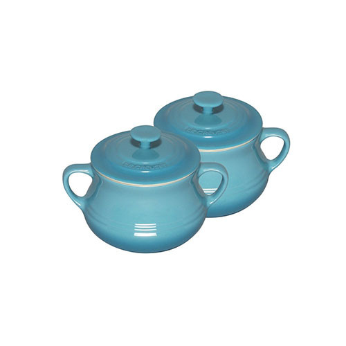 Le Creuset Stoneware Set of 2 Soup Bowls 0.5 L Teal