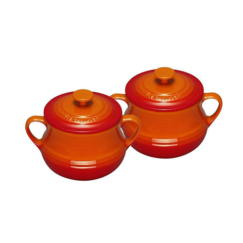 Le Creuset Stoneware Set of 2 Soup Bowls 0.5 L Volcanic Orange