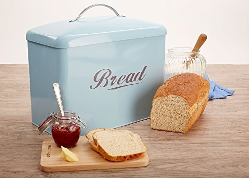 Andrew James Vintage Style Bread Bin In Duck Egg Blue