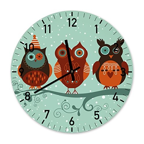 The Owls Illustration Designer Wall Clock 34cm Mint Green