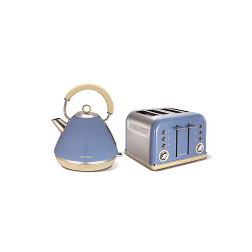 MORPHY RICHARDS BLUE KETTLE JUG & TOASTER SET