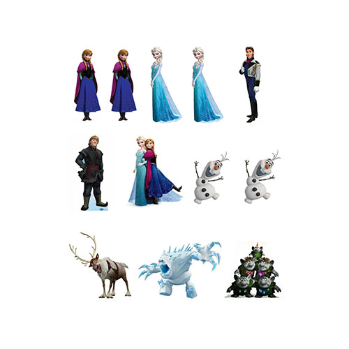 12 Stand Up Frozen Characters Edible Premium Wafer Paper Cake Toppers