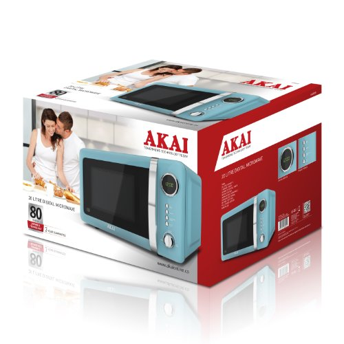 Akai A24005B Digital Microwave, 700 Watt, Duck Egg Blue