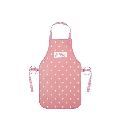 Shabby Vintage Chic Pink Polka Dot Personalised Child's Oilcloth Apron (for 2-5 year olds)