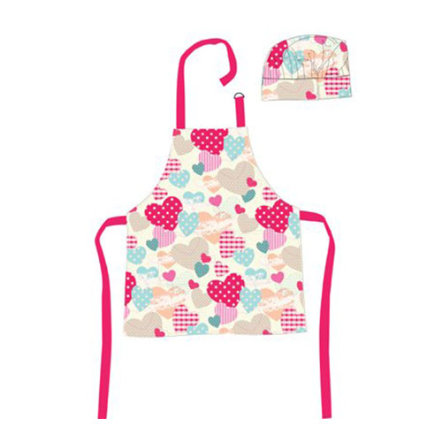 Shreds Sugar and Spice Hearts Apron and Chef's Hat Set