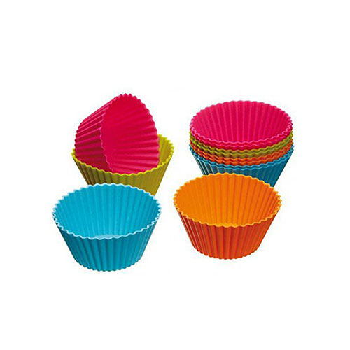 Viskey Round Silicone Cake Moulds, Pack of 48 pcs Assorted Colors