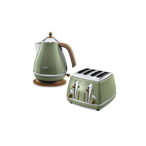 Delonghi Icona 4 Slice Toaster & Kettle Bundle Olive Green