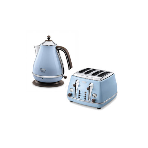 Delonghi Icona 4 Slice Toaster & Kettle Bundle Duck Egg Blue