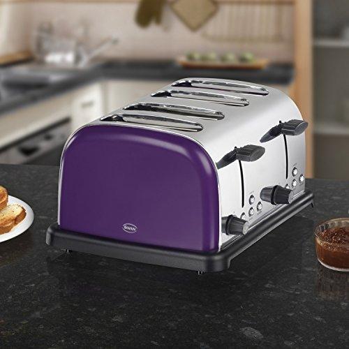 Swan St14020purn 4 Slice Toaster Plum Purple