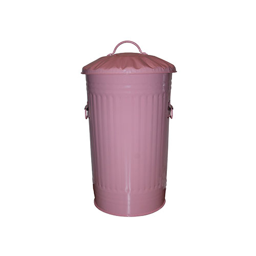 Slim Metal Pastel Pink Kitchen Bin 46 Litre