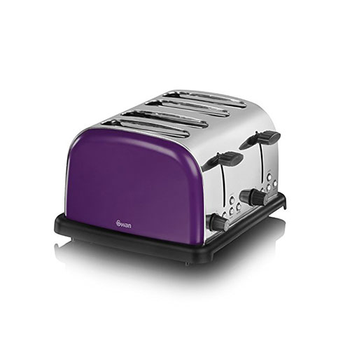 Swan ST14020PURN 4-Slice Stainless Steel Toaster Plum Purple