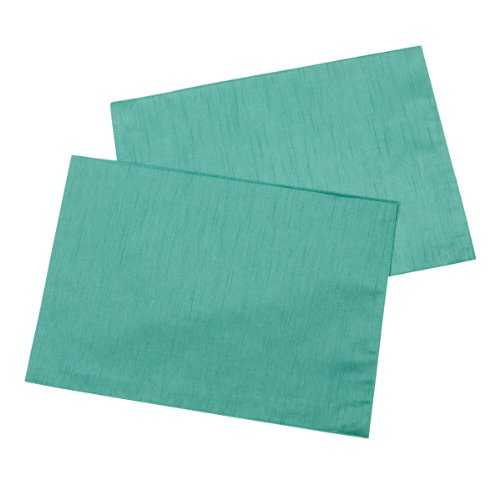Casual-Dining-13-x-18-inch-Faux-Silk-Placemats-Pack-of-2-Teal-0