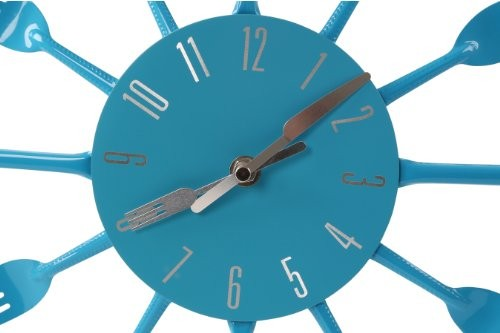 Premier Housewares Blue Cutlery Wall Clock