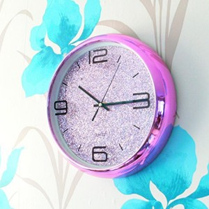 ANW Pink Wall Clock with Pink Glitter Face