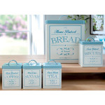CANDC Set Of 5 Cream & Duck Egg Blue Canisters