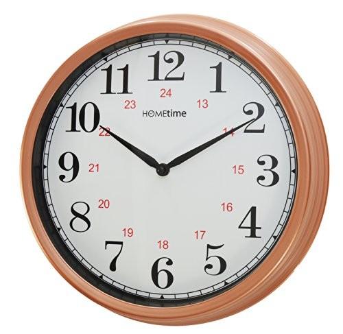 hometime 14 diameter quartz copper wall clock. Black Bedroom Furniture Sets. Home Design Ideas