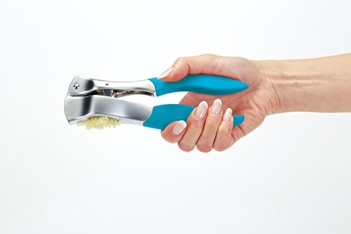 Colourworks Blue Garlic Press with Soft Touch Handles