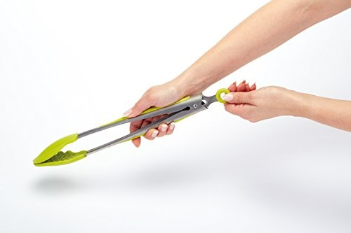 Colourworks Silicone Food Tongs with Green Soft Grip 30 cm
