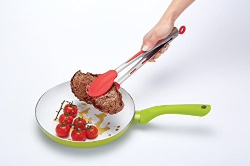 Colourworks Silicone Food Tongs with Red Soft Grip 30 cm