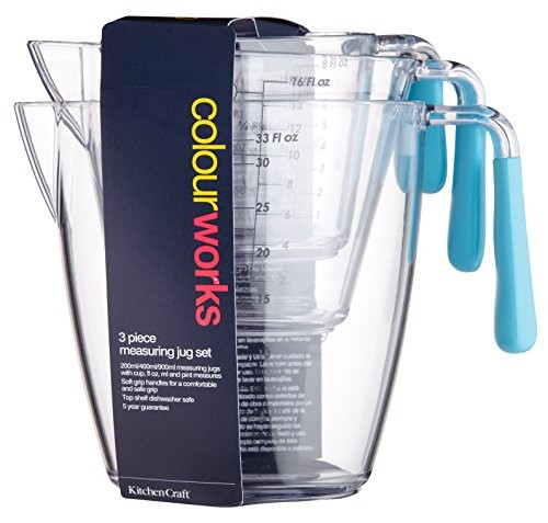 Kitchen Craft Colourworks Three Piece Measuring Jug Set Blue