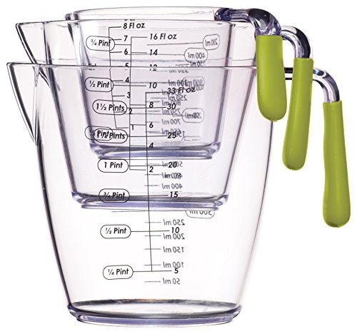 Kitchen Craft Colourworks 3 Piece Measuring Jug Set Green