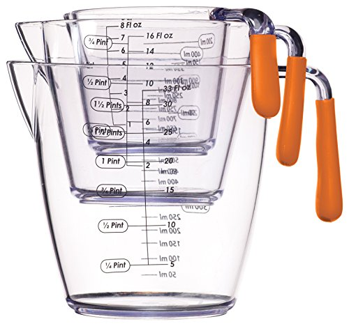 Kitchen Craft Colourworks 3 Piece Measuring Jug Set Orange