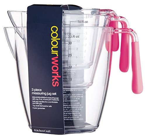 Kitchen Craft Colourworks 3 Piece Measuring Jug Set Hot Pink