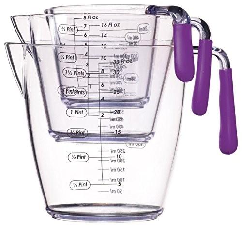 Kitchen Craft Colourworks 3 Piece Measuring Jug Set Purple