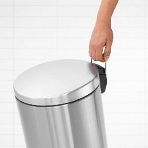 Brabantia 12 Litre Silent Pedal Bin - Matt Steel Fingerprint Proof