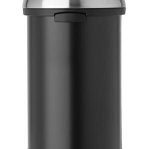 Brabantia 60 Litre Touch Bin - Matt Black with Brilliant Steel Lid