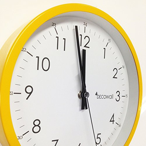 Decowall 22 cm Yellow Non ticking Wall Clock