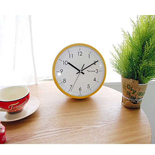 Decowall 22 cm Yellow Non ticking Wall Clock