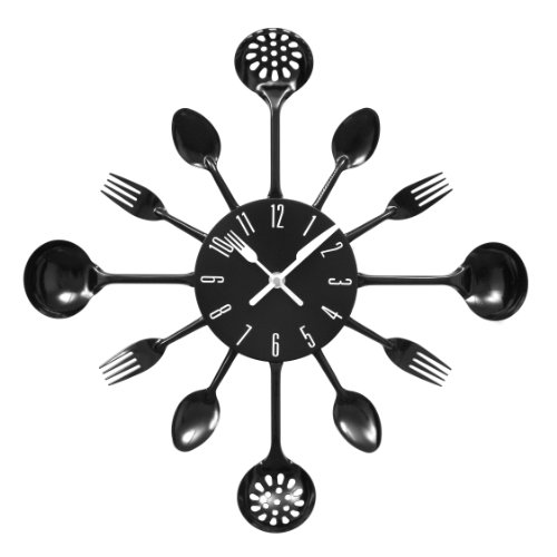 Premier Housewares Black Cutlery Wall Clock
