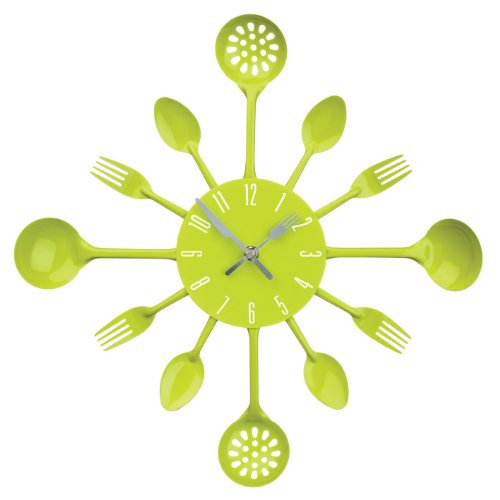 Premier Housewares Lime Green Cutlery Wall Clock