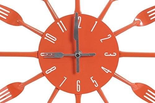Premier Housewares Orange Cutlery Wall Clock