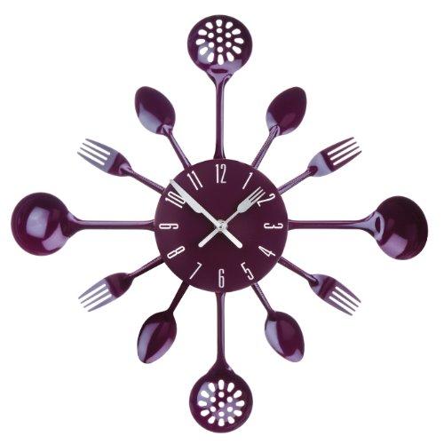 Premier Housewares Purple Cutlery Wall Clock