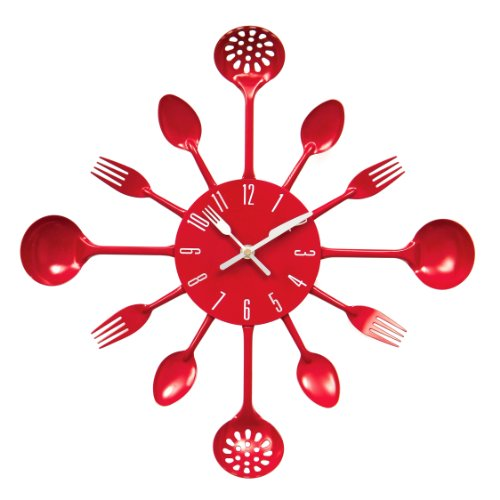 Premier Housewares Red Cutlery Wall Clock