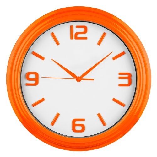 Premier Housewares Round Kitchen Wall Clock Orange